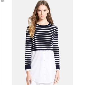 Theory Rymalia Stripe Sweater with Poplin Underlay